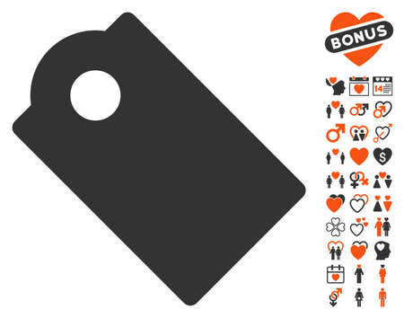 operand: Tag icon with bonus passion images. Vector illustration style is flat iconic symbols for web design, app user interfaces.