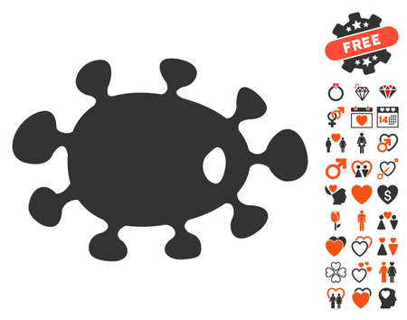 idler: Bacteria pictograph with bonus marriage pictures. Vector illustration style is flat iconic elements for web design, app user interfaces.