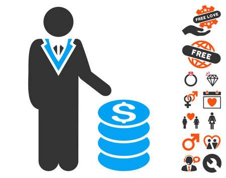 salarios: icono del hombre de negocios con bonificación imágenes románticas. estilo de ilustración vectorial elementos icónicos es plana para el diseño web, interfaces de usuario de aplicaciones. Vectores