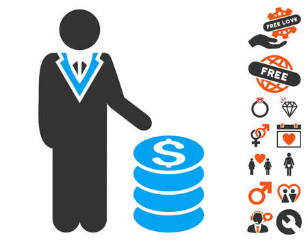 Businessman icon with bonus romantic images. Vector illustration style is flat iconic elements for web design, app user interfaces.