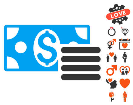Dollar Cash pictograph with bonus love pictograph collection. Vector illustration style is flat iconic elements for web design, app user interfaces.