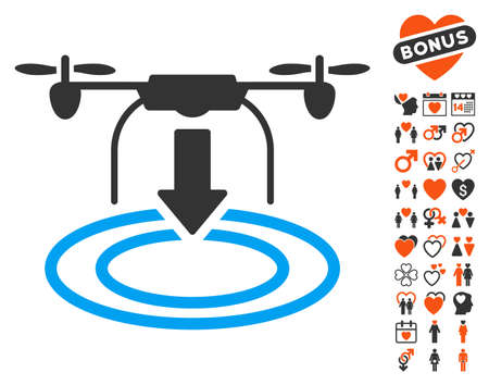 Drone Landing icon with bonus dating images. Vector illustration style is flat iconic elements for web design, app user interfaces. Illustration