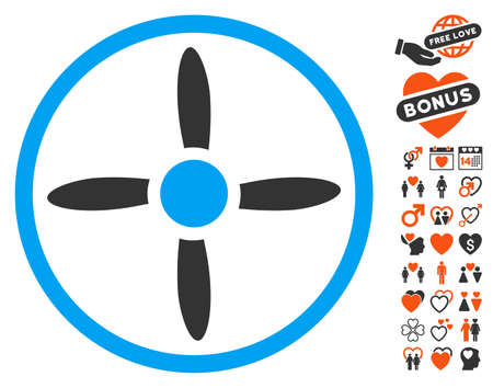 Drone Screw icon with bonus love design elements. Vector illustration style is flat iconic symbols for web design, app user interfaces.