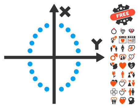 dating strategy: Ellipse Plot pictograph with bonus marriage graphic icons. Vector illustration style is flat iconic elements for web design, app user interfaces.