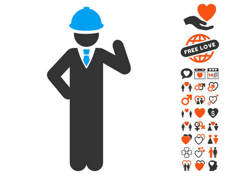 Engineer pictograph with bonus love pictograms. Vector illustration style is flat iconic symbols for web design, app user interfaces.