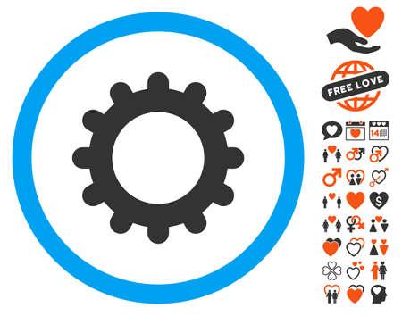 Gear pictograph with bonus valentine symbols. Vector illustration style is flat iconic symbols for web design, app user interfaces.