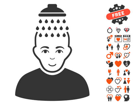 Head Shower pictograph with bonus marriage pictograms. Vector illustration style is flat iconic symbols for web design, app user interfaces. Illustration