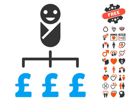 Kid Pound Expenses pictograph with bonus love icon set. Vector illustration style is flat iconic elements for web design, app user interfaces.