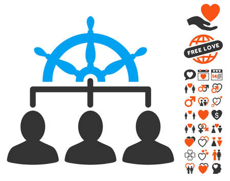Management Steering Wheel icon with bonus amour pictograms. Vector illustration style is flat iconic elements for web design, app user interfaces. Illustration