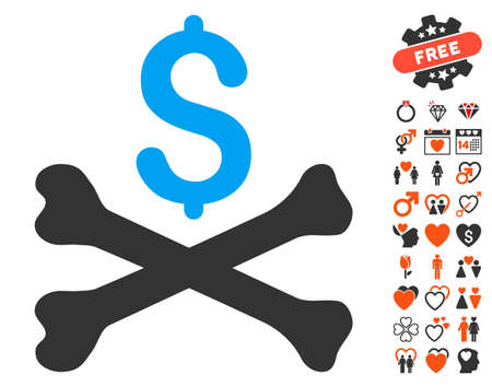 Mortal Debt pictograph with bonus dating pictograph collection. Vector illustration style is flat iconic symbols for web design, app user interfaces.