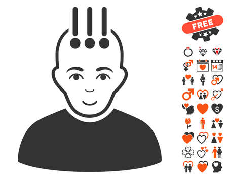Neural Interface pictograph with bonus decoration pictograph collection. Vector illustration style is flat iconic symbols for web design, app user interfaces.