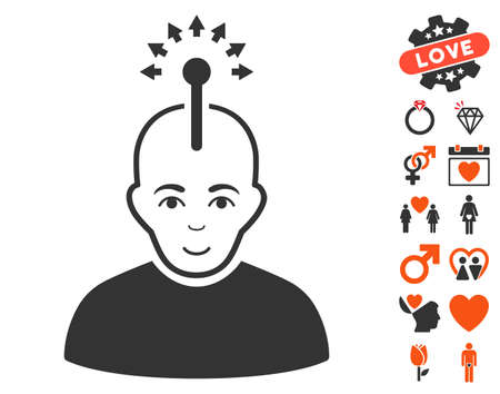 Optical Neural Interface pictograph with bonus romantic images. Vector illustration style is flat iconic symbols for web design, app user interfaces. Illustration