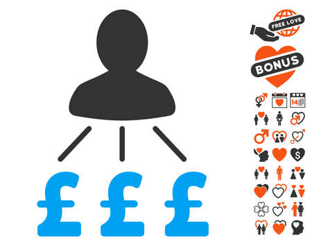 Person Pound Expenses pictograph with bonus decorative pictograph collection. Vector illustration style is flat iconic elements for web design, app user interfaces. Illustration