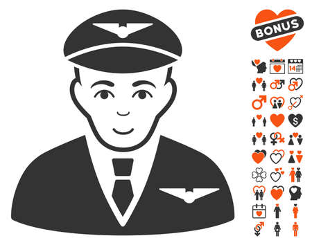 commander: Pilot icon with bonus marriage pictograms. Vector illustration style is flat iconic symbols for web design, app user interfaces.