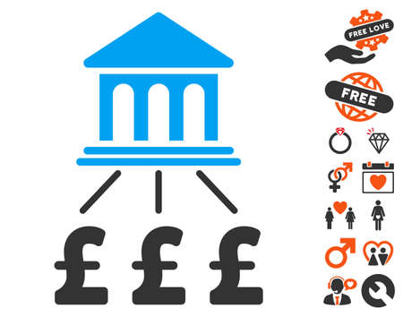 Pound Bank Scheme pictograph with bonus love design elements. Vector illustration style is flat iconic symbols for web design, app user interfaces.