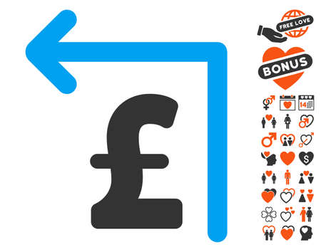 reverse: Pound Moneyback pictograph with bonus love graphic icons. Vector illustration style is flat iconic elements for web design, app user interfaces.