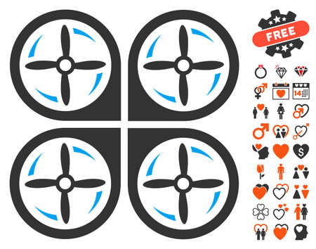 airflight: Quadrotor Screws Rotation icon with bonus dating design elements. Vector illustration style is flat iconic elements for web design, app user interfaces.