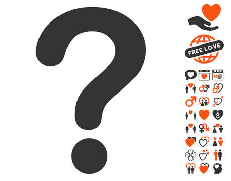 Question pictograph with bonus marriage clip art. Vector illustration style is flat iconic elements for web design, app user interfaces.