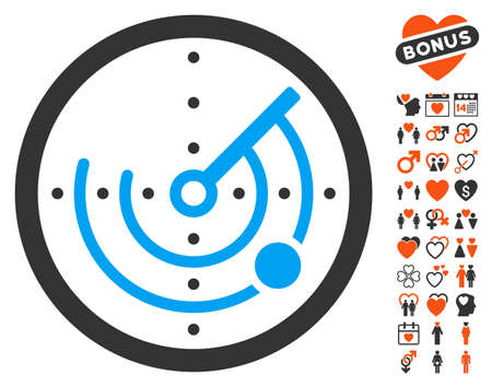 blip: Radar icon with bonus lovely pictograms. Vector illustration style is flat iconic symbols for web design, app user interfaces. Illustration