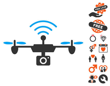 Radio Camera Airdrone icon with bonus dating pictures. Vector illustration style is flat iconic symbols for web design, app user interfaces. Illustration
