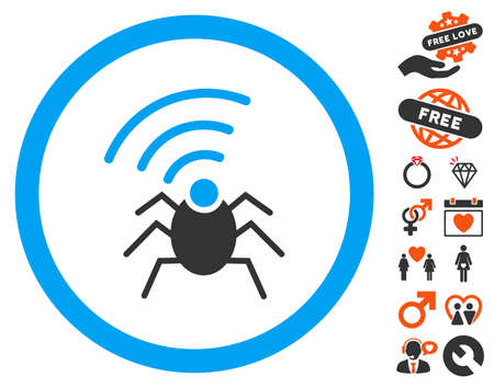 fbi: Radio Spy Bug pictograph with bonus decorative clip art. Vector illustration style is flat iconic elements for web design, app user interfaces.