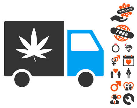 Cannabis Delivery Van pictograph with bonus decorative clip art. Vector illustration style is flat iconic elements for web design, app user interfaces.