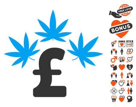Cannabis Pound Business icon with bonus valentine design elements. Vector illustration style is flat iconic elements for web design, app user interfaces.