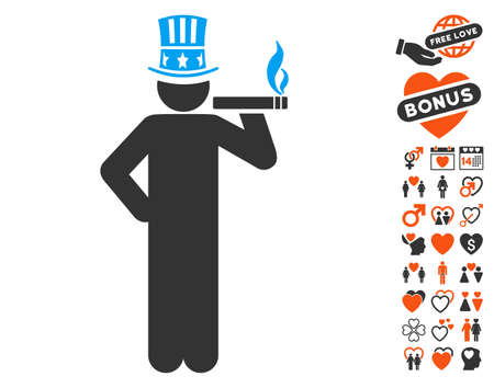 capitalist: Capitalist pictograph with bonus passion graphic icons. Vector illustration style is flat iconic elements for web design, app user interfaces.