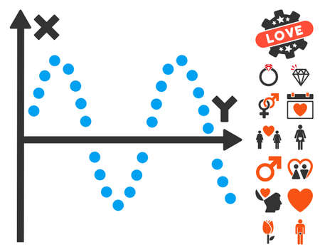 alternating current: Sine Plot pictograph with bonus lovely pictures. Vector illustration style is flat iconic symbols for web design, app user interfaces.
