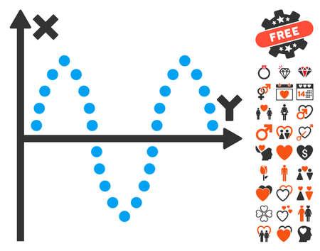 Sinusoid Plot icon with bonus love clip art. Vector illustration style is flat iconic symbols for web design, app user interfaces. Illustration