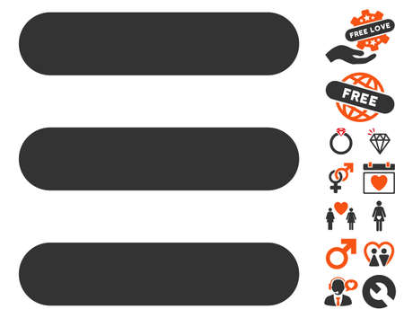 Stack icon with bonus marriage design elements. Vector illustration style is flat iconic symbols for web design, app user interfaces.