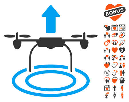 Start Drone icon with bonus love design elements. Vector illustration style is flat iconic symbols for web design, app user interfaces. Illustration