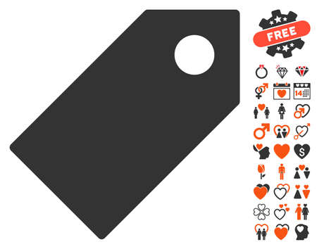 operand: Tag pictograph with bonus love pictograph collection. Vector illustration style is flat iconic elements for web design, app user interfaces.