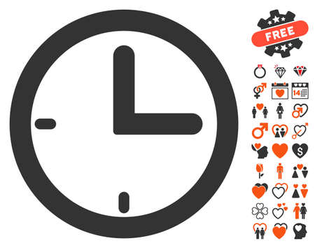 speed dating: Time pictograph with bonus decorative pictograms. Vector illustration style is flat iconic elements for web design, app user interfaces.