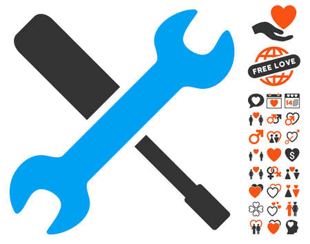 Tools pictograph with bonus lovely graphic icons. Vector illustration style is flat iconic symbols for web design, app user interfaces. Illustration