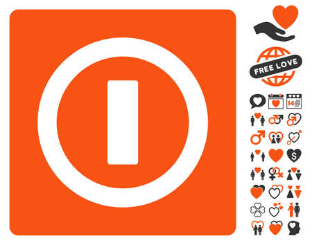 Turn Off icon with bonus decorative pictograph collection. Vector illustration style is flat iconic elements for web design, app user interfaces. Illustration
