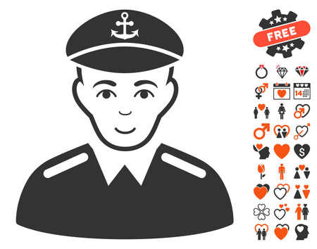 Captain icon with bonus dating graphic icons. Vector illustration style is flat iconic elements for web design, app user interfaces. Illustration