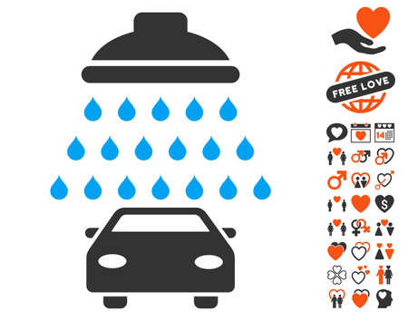 Car Shower pictograph with bonus amour pictures. Vector illustration style is flat iconic elements for web design, app user interfaces.