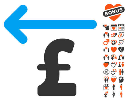 Cashback Pound pictograph with bonus marriage images. Vector illustration style is flat iconic elements for web design, app user interfaces.