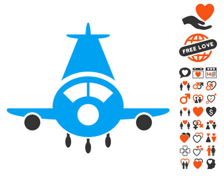 Cargo Plane icon with bonus dating pictograph collection. Vector illustration style is flat iconic elements for web design, app user interfaces.