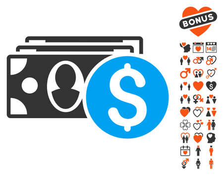 Cash pictograph with bonus lovely design elements. Vector illustration style is flat iconic symbols for web design, app user interfaces. Illustration