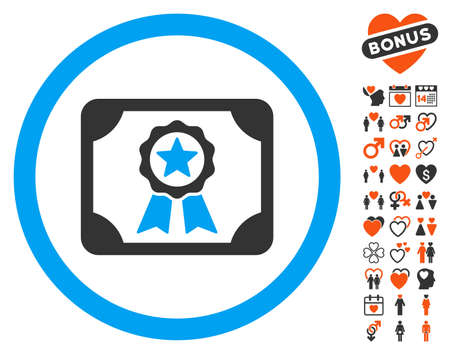 attest: Certificate icon with bonus marriage icon set. Vector illustration style is flat iconic symbols for web design, app user interfaces.
