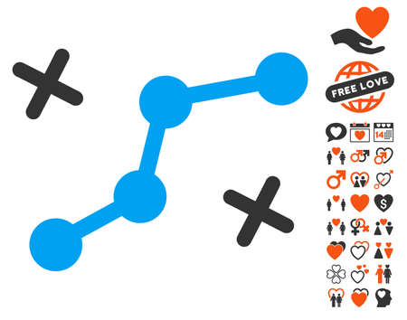 Route Points pictograph with bonus valentine clip art. Vector illustration style is flat iconic symbols for web design, app user interfaces.