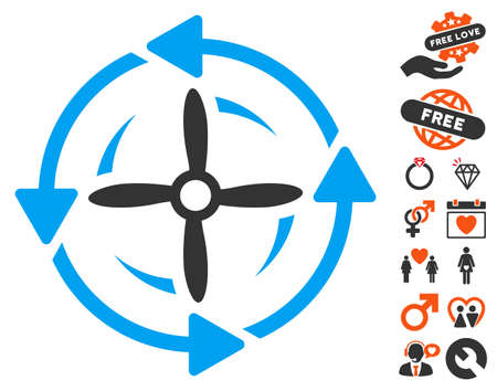 airscrew: Screw Rotation icon with bonus dating graphic icons. Vector illustration style is flat iconic elements for web design, app user interfaces. Illustration