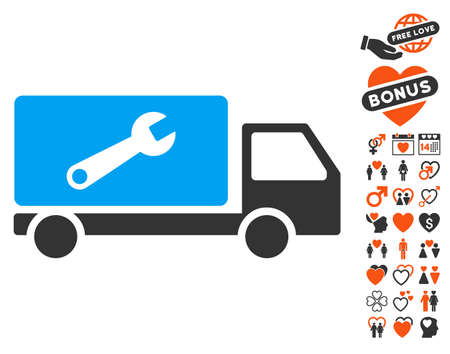 Service Car pictograph with bonus passion images. Vector illustration style is flat iconic elements for web design, app user interfaces.