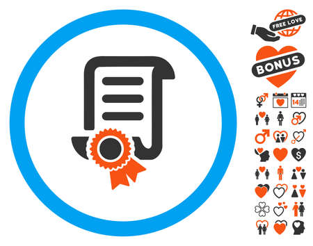 Certified Scroll Document icon with bonus lovely icon set. Vector illustration style is flat iconic elements for web design, app user interfaces.