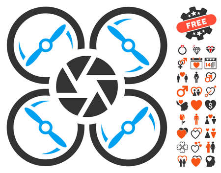 Shutter Drone pictograph with bonus decorative symbols. Vector illustration style is flat iconic symbols for web design, app user interfaces.