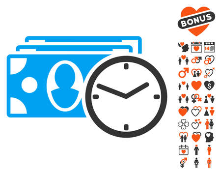 timed: Cash Credit pictograph with bonus dating images. Vector illustration style is flat iconic symbols for web design, app user interfaces. Illustration