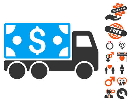 Cash Delivery pictograph with bonus lovely clip art. Vector illustration style is flat iconic symbols for web design, app user interfaces.
