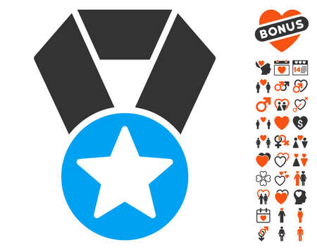 approval rate: Champion Medal icon with bonus valentine pictures. Vector illustration style is flat iconic elements for web design, app user interfaces.